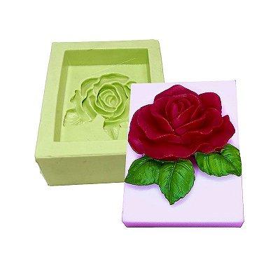 Molde de Silicone Retangular com Rosa