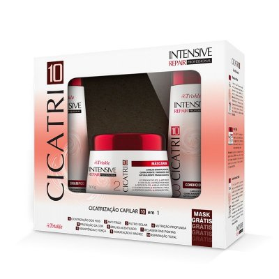 Kit Triskle Intensive Repair CICATRI10 (Shampoo e Condicionador 350ml) + Máscara 300g