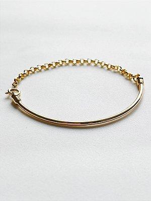 Bracelete Liso Fino com Corrente - SEMIJOIA