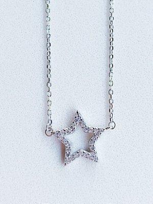 Colar Estrela Prata Rodinada