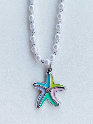 Colar Pérola Estrela do Mar Semijoia
