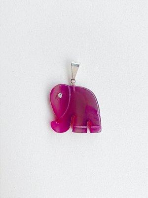 Pingente Elefante Ágata Rosa Bijuteria