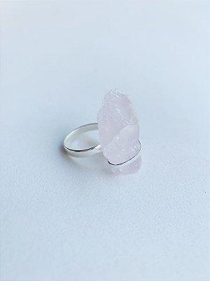 Anel Quartzo Rosa Banho de Prata