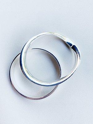 Bracelete Duplo Liso Banho de Prata