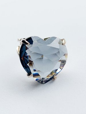 Anel Coração Cristal Semijoia