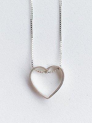 Colar Coração Vazado de Prata