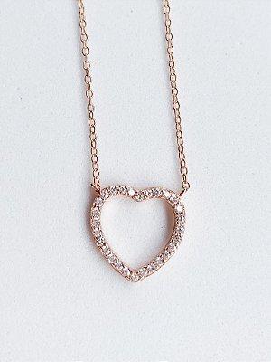Colar Coração de Prata Banhada