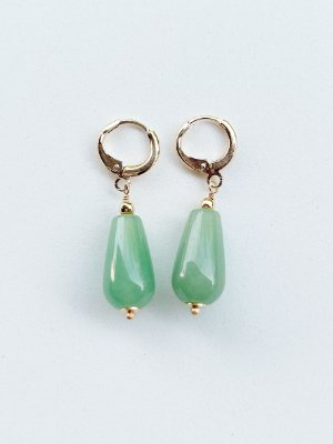 Argolinha Jade Verde Semijoia