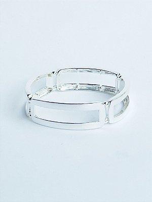 Bracelete Retângulo Banho de Prata