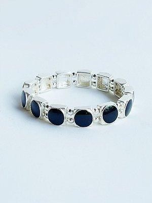 Bracelete Círculo Esmaltado Banho de Prata