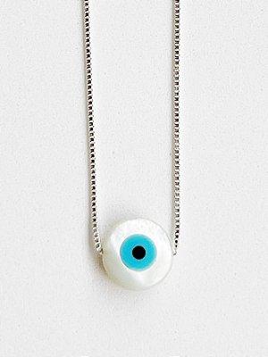 Colar Olho Grego de Prata