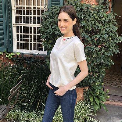 Camiseta Bordada Botões Costas - Off White