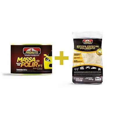 Kit Massa de Polir + Estopa para Polimento