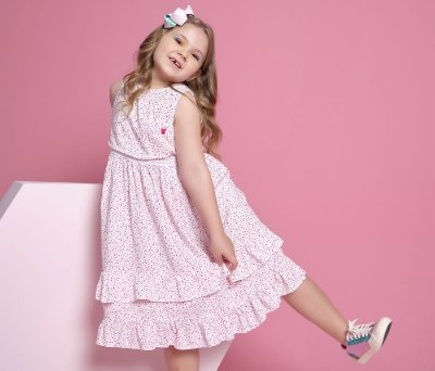 Vestido Infantil Viscose Pontilhado Rosa