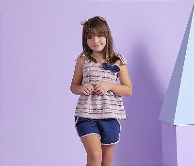 Conjunto Shortinho e Blusa Peplum Cor Azul