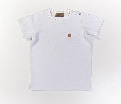 Camisa bebê Gola Careca Malha com cheiro cor Branco