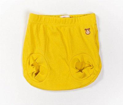 Tapa Fraldas Bebê Malha Canelada Cor amarelo