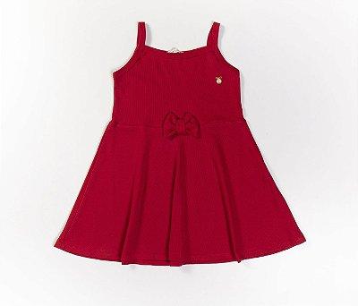 Vestido Evasê Infantil Malha Canelada Vermelho