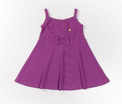 Vestido Evasê Infantil Malha Canelada lilás