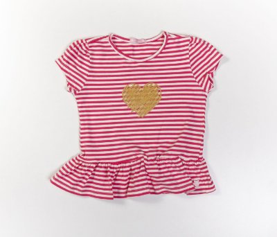 Blusa Peplum Infantil Cotton Listrado Rosa