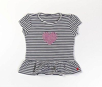 Blusa Peplum Infantil Cotton Listrado Azul