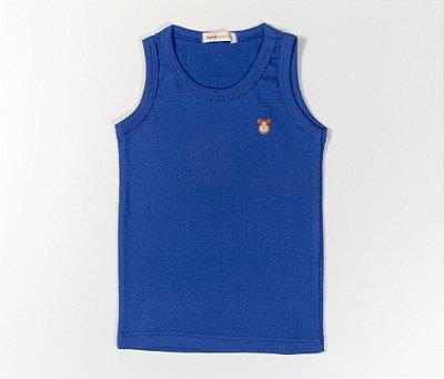 Camiseta Infantil Nadador Malha Canelada Cor Azul