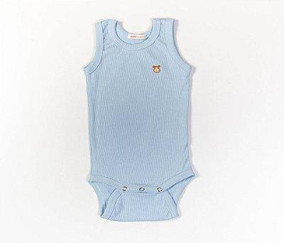 Body sem Manga Bebê Malha Canelada Cor Azul