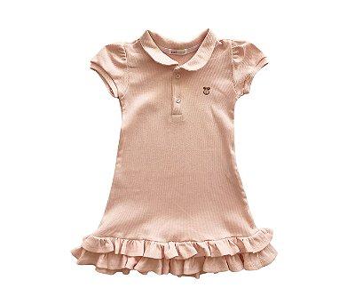 Vestido Gola Polo Infantil Malha Canelada Cor Rosa