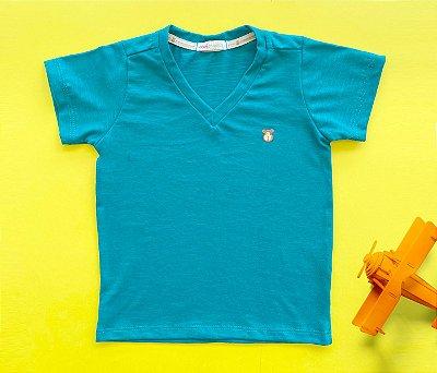 Camisa Infantil Gola V Malha Flamê Cor verde