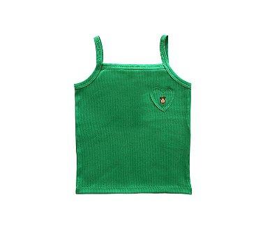 Blusa Regata Coração Cor Verde