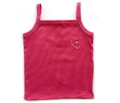 Blusa Regata  Coração Cor Rosa