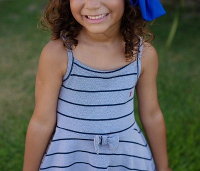 Vestido Infantil Listrado Azul