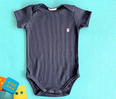 Body Com Manga Bebê Malha Canelada Azul Marinho