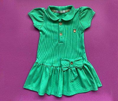 Vestido Polo Infantil Básico Verde