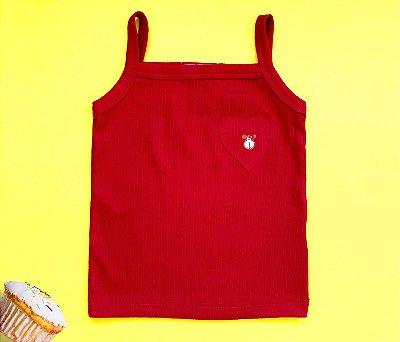 Blusa Regata  Coração Cor Vermelho