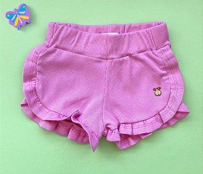 Short babados Infantil Malha Canelada Rosa Claro