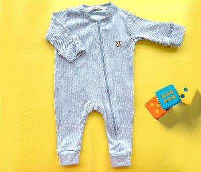 Macacão Bebê Básico Canelado Azul