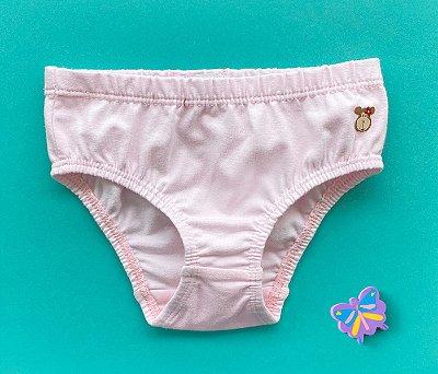 Calcinha Infantil Cotton Cor Rosa Claro