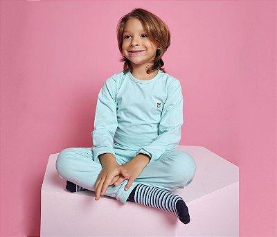 Pijama Infantil Manga longa e Calça Cotton Cor Verde claro