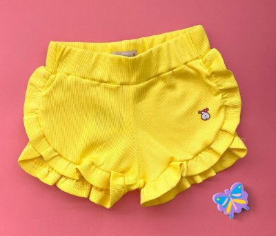 Short babados Malha Canelada Amarelo
