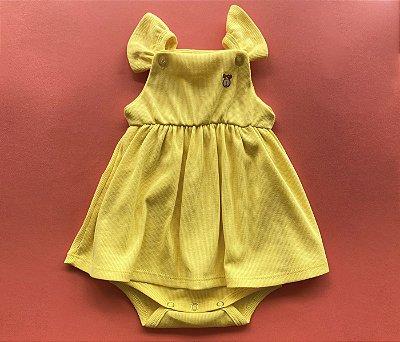 Francês Body Bebê Malha Canelada Cor Amarelo