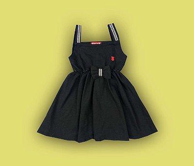 Vestido Com Laço Meninas Cor Preto