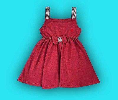 Vestido Com Laço Meninas Cor Vermelho Telha