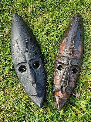 Máscara Carranca Indonésia Bali Olhos Vazados Madeira 50 cm