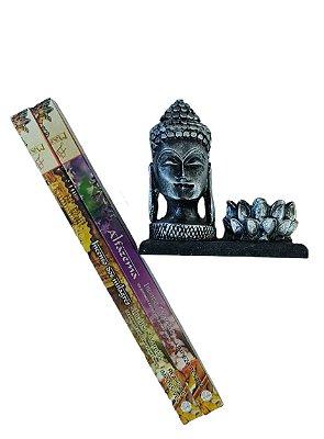 Porta Incenso Buda Tibetano com Flor de Lótus Resina + 02 Brinde Incenso Massala   Alfazema  & Milagres