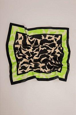 lenço quadrado em voil de algodão pássaros preto