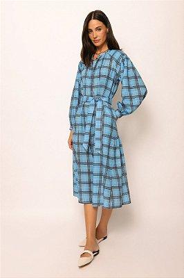 vestido de linho misto nesga lateral xadrez azul