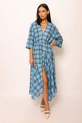 vestido de linho misto pontas xadrez azul