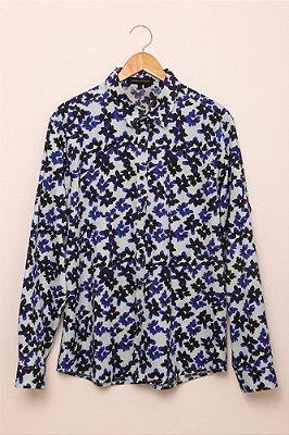 camisa masculina estampada flores azul