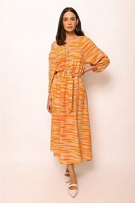 vestido de linho misto ombro a ombro zebrado khaki